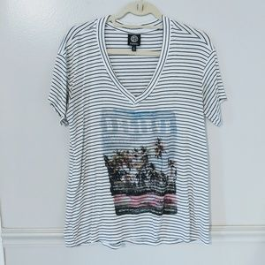 Bobeau Striped Oversized V Neck Graphic Tee